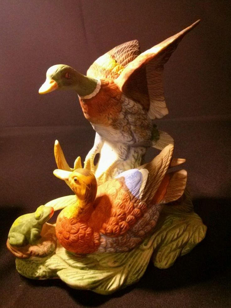 Royal Crown J Byron Signed Ducks And Frog Statue Figurine