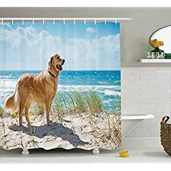 Golden Retriever On A Sandy Dune Shower Curtain Set 75 Inches Long Blue Green Camel