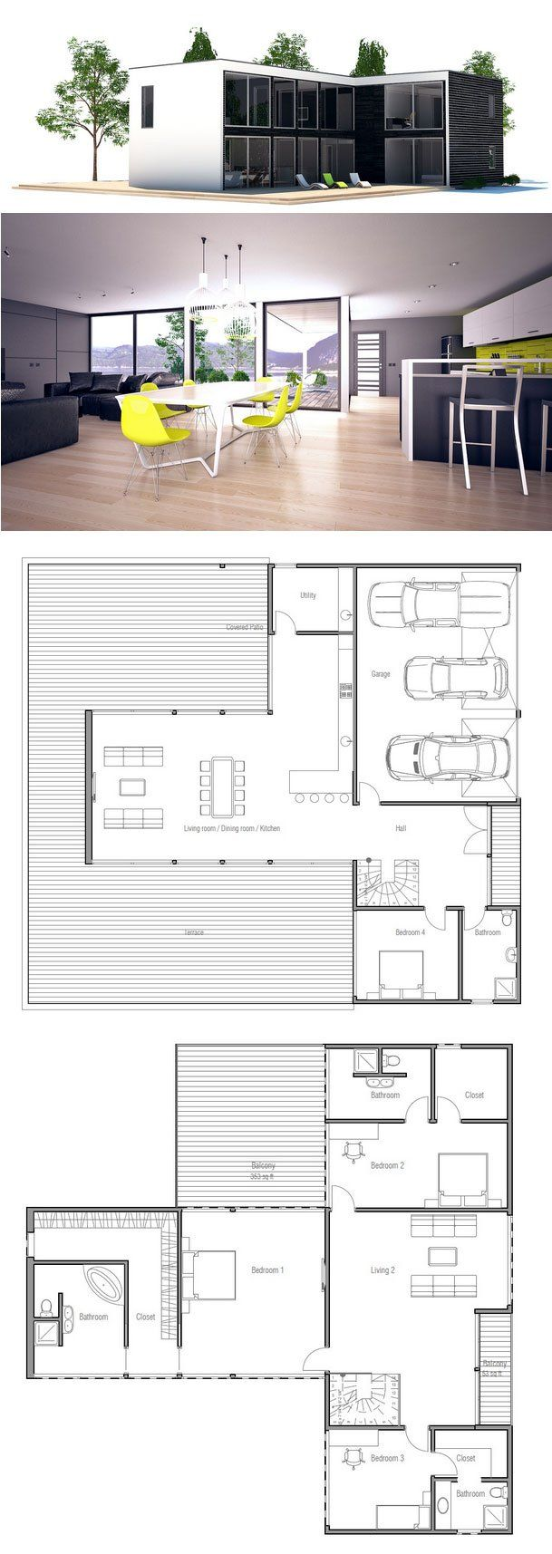 Large contemporary home plan with four bedrooms. Open planning and abundance of natural light. Master bedroom with big closet and bathroom and large balcony.