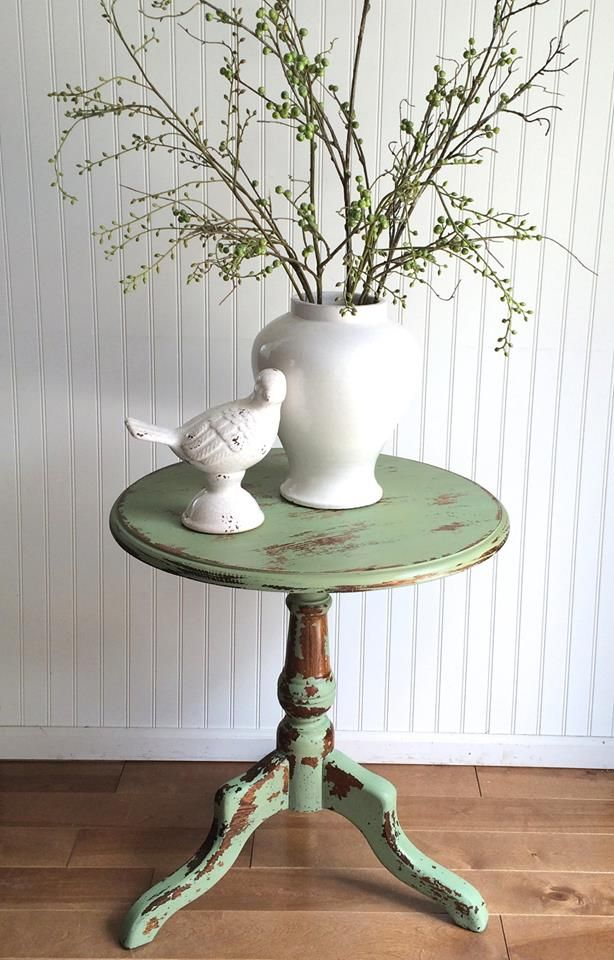 Lots of chippy charm in this side table - The Bee's Knees Antiques & Interiors, Castle Rock, CO.