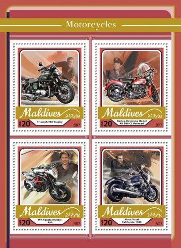 MLD17105a Motorcycles (Triumph TR6 Trophy; Harley-Davidson Model KH 888 CC flathead; MV Agusta Brutale 800; Moto Guzzi California 1400)