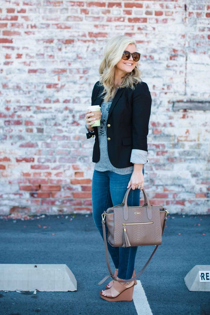 High waisted skinny jeans, frayed skinny jeans, blazer and skinny jeans, spring outfit inspiration from Cristin Cooper of The Southern Style Guide