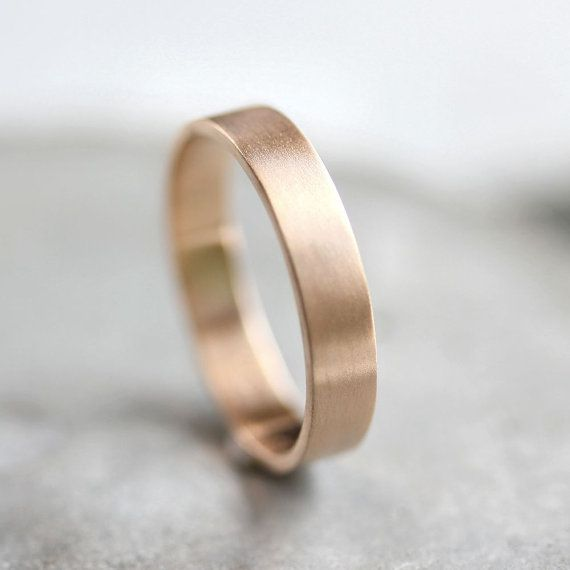 Men's Gold Wedding Band, Unisex 4mm Brushed Flat 10k Recycled Yellow Gold Wedding Ring Gold Ring – Made in Your Size