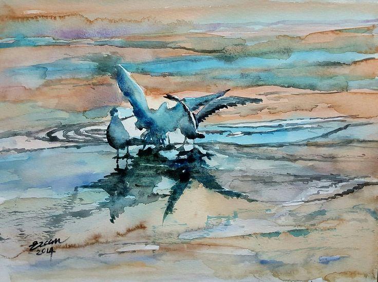 The Seagull flight for bread-Martilarin Ekmek kavgası  23cmx31cm watercolor on paper kağıt üzerine suluboya Artist Ercan Günay