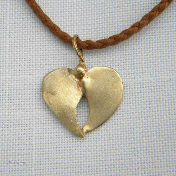 Heart  bronze pendant handmade hammered bronze heart by prosinemi, €14.00