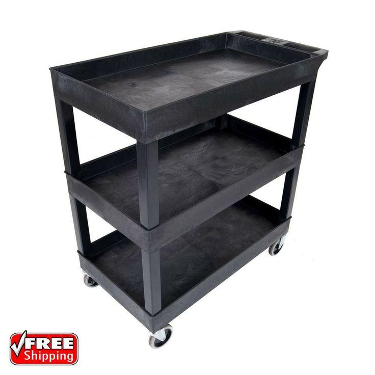 3 Tier 400 Lb Capacity Swivel Wheel Black Plastic Tub Shelf Service Utility Cart   Business & Industrial, Material Handling, Carts & Trucks   eBay!