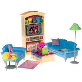 Barbie Decor Collection Living Room Playset. Blue Sofa Chair, Coffee Table  Tv Cabinet Part 97