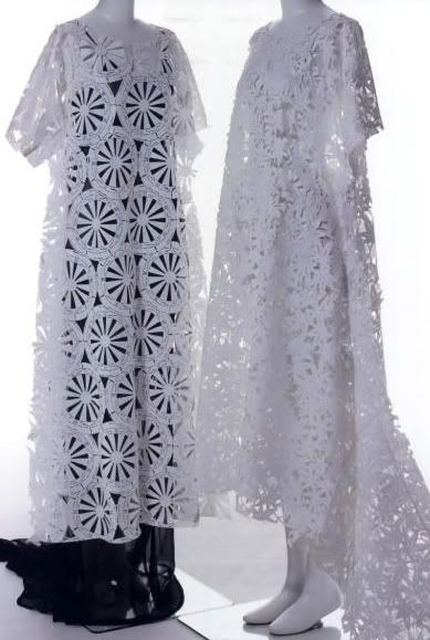 Dresses made of paper were worn in Japan during the Kamakura period (1192-1333), and during the Edo period (1603-1867( expensive paper dresses were considered extremely stylish.    This paper dress would probably fit nicely into Japanese tradition. Japanese stencil paper designers created the cut pattern known as goshoguruma and momiji. Kawakubo thought that this cut pattern, used during production, looked lilke lace.