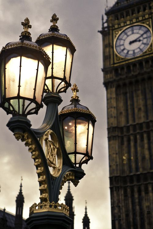 London... antique street lights + clock tower = gorgeous                                                                                                                                                                                 Plus