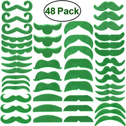 LUOEM Self Adhesive Fake Mustaches Costume Party Face Accessory For ST Patrick's Day Props - Description This fake moustache kit is a great costume piece for St Patrick's Day! Made from eco-friendly material, the fake mustaches are comfortable to wear, and it does no harm to skin. With self-sdhesive back glue, it makes wearing easy and looks cool. The props are perfect costumes for St Pa...
