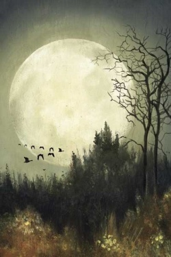 The Encyclopedia of Fall: H is for Hunters Moon from Yankee Magazine, essay by Kate Gridley, painting by Lisel Ashlock