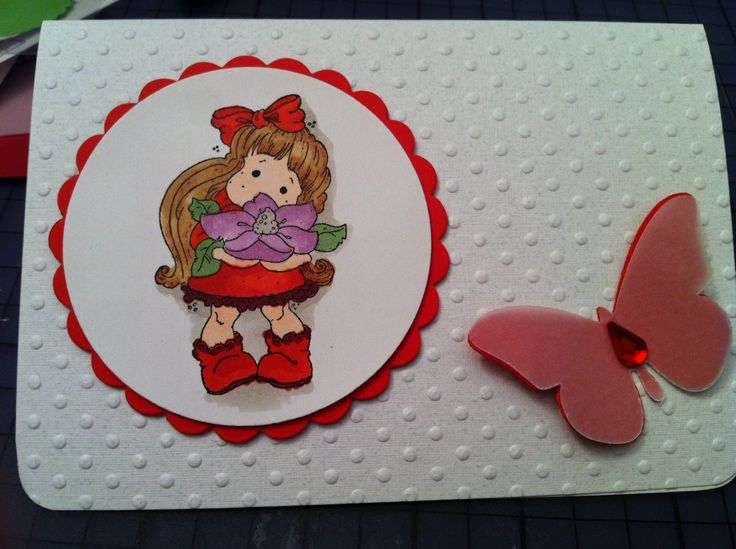 """""""Young Lady"""" - A collection that covers 12 months of stationary needs.  Birthday, Anniversary  Embossed paper; diecut and stamped; Copic markers used to color the stamp;tear rhinestone on diecut butterfly (paper and vellum)"""