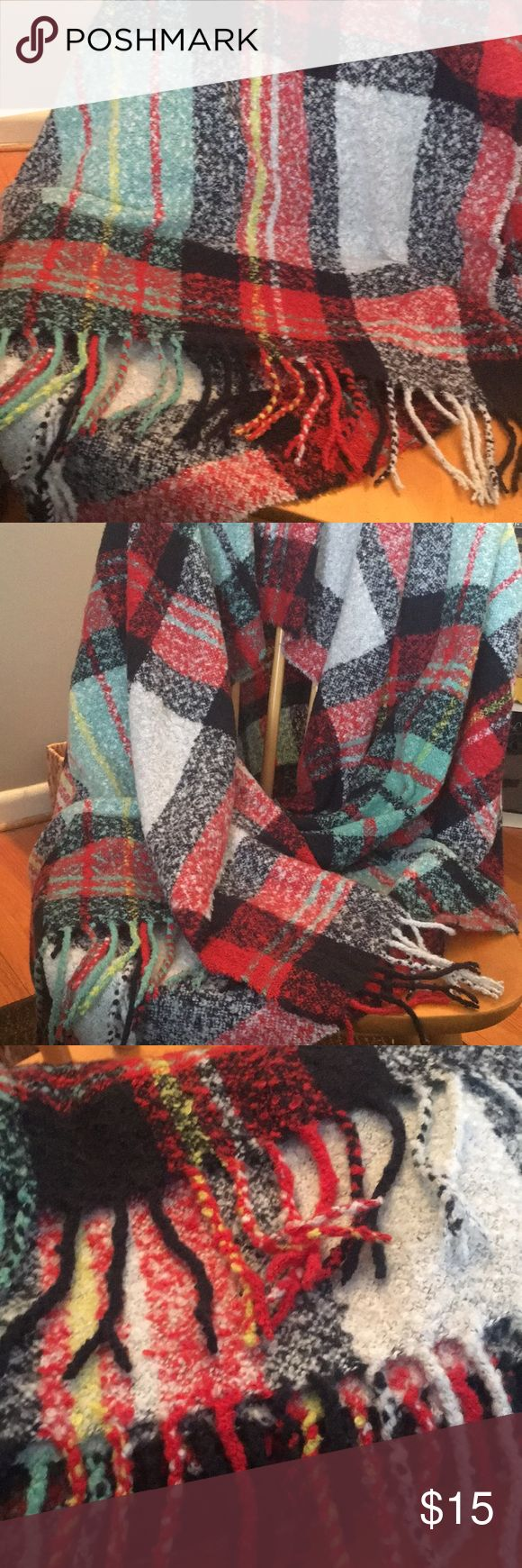 Plaid chenille wrap Super soft multicolored plaid wrap. Fringe edge. Black, red, yellow, turquoise and white plaid. American Eagle Outfitters Accessories Scarves & Wraps