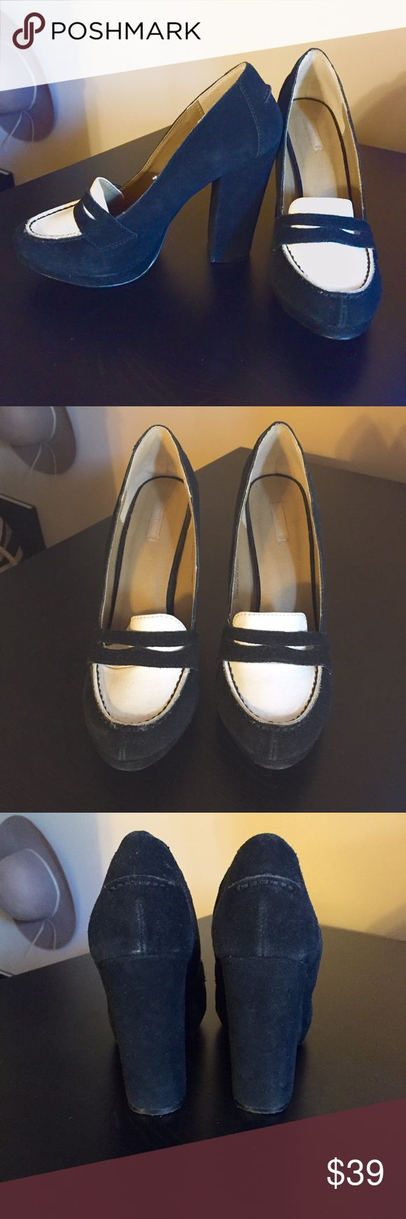 """1 DAY SALECooperative High Heel Loafers Black and white high heeled loafers with faux suede and patent leather. Thick sturdy heel: 4"""" Only worn once. No trades, reasonable offers will be considered. Urban Outfitters Shoes Heels"""