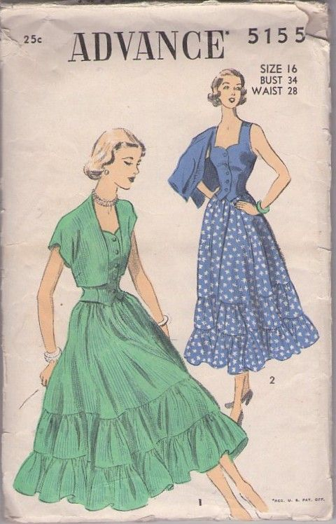 Advance 5155 Vintage 40's Sewing Pattern FANCIFUL Contrast Tiers Flared Summer Skirt, Risque Fitted Weskit Vest Top & Cap Sleeve Bolero Jacket