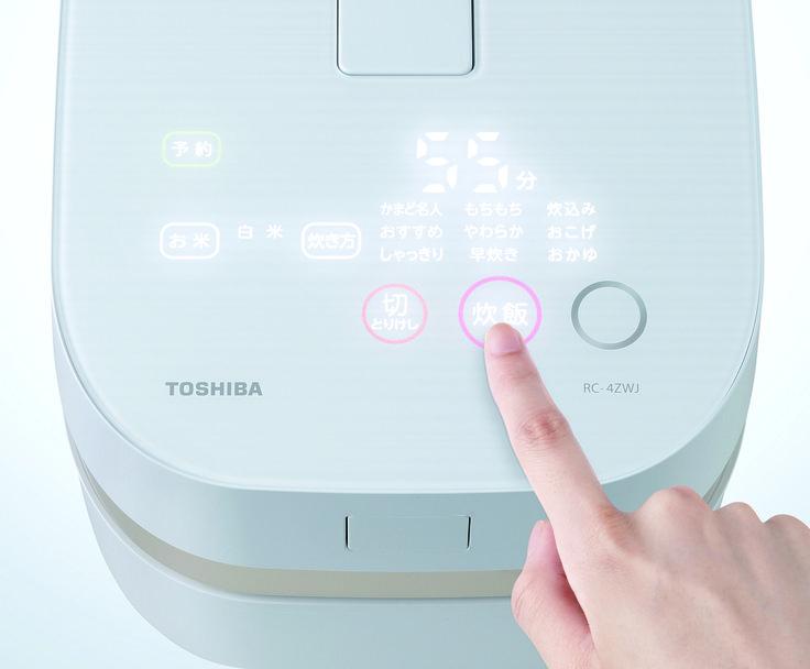 【炊飯器 RC-4ZWJ】  パネルにそっと触れると、必要なキーや表示が浮かび上がり直感的で簡単な操作ができます。 カウンターやテーブルに置いたときのさりげないデザインがおいしさを演出します。 http://www.toshiba.co.jp/living/rice_cookers/pickup/rc_10z/index_j.htm?from=rc_top_main_v?id=tab02