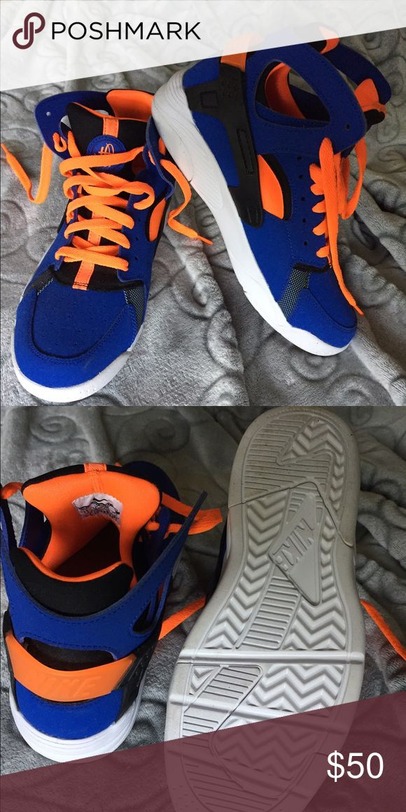 Nike huaraches high top! Mint condition! Brand new! Rare colorway of blue and orange! Change out the laces, pair with joggers, accent with leggings, get them in your closet! 7y 8w 7.5m Nike Shoes Sneakers