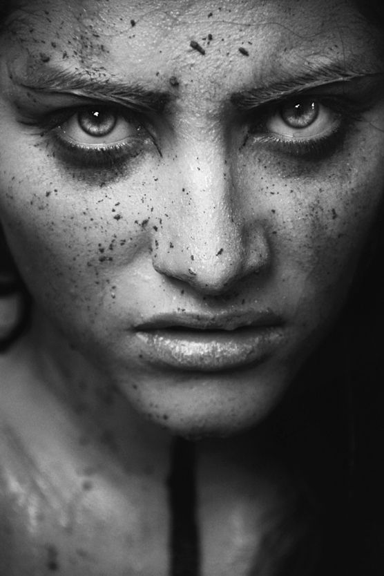 Disgust, powerful face, intense eyes, fierce, expression, emotional, beauty, portrait, b/w