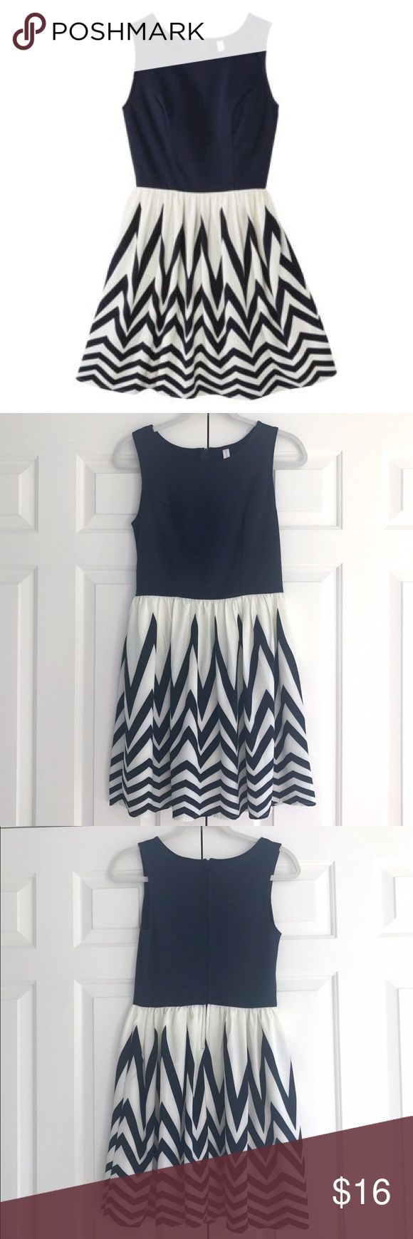 Target Xhilaration Navy Chevron Dress Only worn twice, in like new condition. Top half is solid navy and the bottom half is navy chevron. Xhilaration Dresses Mini