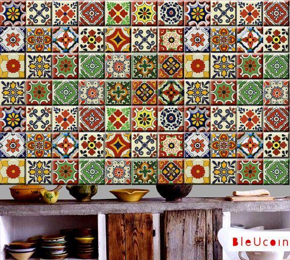 SOUTHWESTERN Talavera stile- 22 disegni-x 2 sets (44 pezzi) - piastrelle / parete / Scala decalcomania / autoadesivi