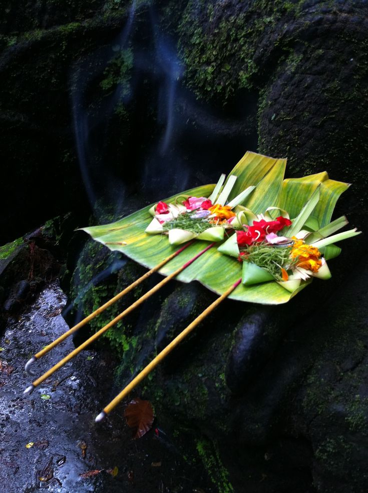 Balinese hindu offerings Bali Floating Leaf Eco-Retreat. http://balifloatingleaf.com/