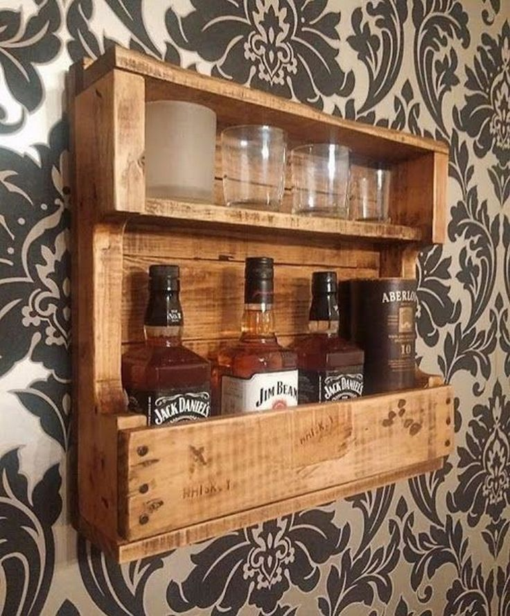 34 Easy Woodworking Projects In 2020 Pallet Wood Shelves Recycled Wood Projects Whiskey Rack
