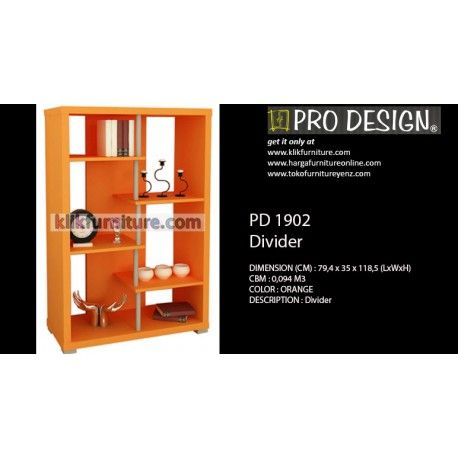PD 1902 Sekat Divider Pro design Condition:  New product  DIMENSION (CM) :79,4 x 35 x 118,5 (LxWxH) COLORS : orange DESCRIPTION :divider / sekat untuk ruang tamu