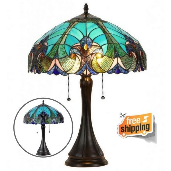 Table Lamp Stained Glass 2 Light Base Tiffany Style Handcrafted Vintage Blue