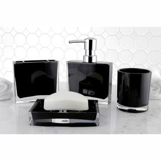 The black 4-piece bathroom accessory set adds elegance and creates a contemporary environment in any bathroom. The set includes a soap/lotion dispenser, soap dish, tumbler and toothbrush holder. Manuf