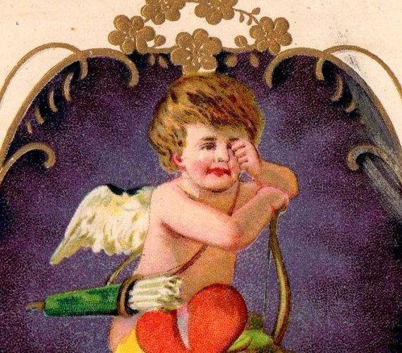 Cute Antique Sad Cupid Valentine Cancelled 1903 by VintagenutsInc