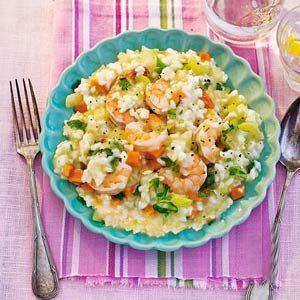 Risotto met groente en garnalen