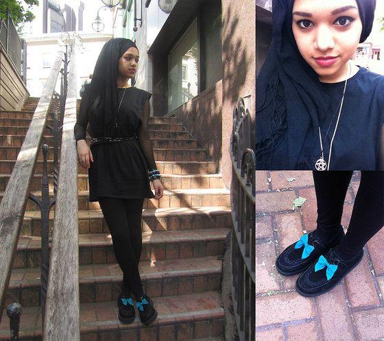 Saima Chowdhury - Tammy Blue Bows, Ebay Pentagram Necklace, Creepers, Black Hijab, Diy Black Top, Oasis Skull Scarf, Hypnotic Mesh Body, Tesco Black Leggings, Abroad Bracelets - Blue Bows