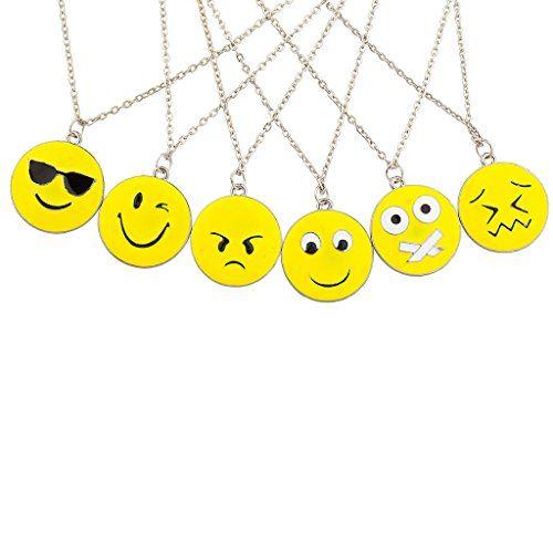 Lux Accessories 6 PC Emoji Emoticon Happy Sad Cool Shy BFF Best Friends Multiple Necklace Set Lux Accessories http://www.amazon.com/dp/B016YVVJLW/ref=cm_sw_r_pi_dp_Yhotwb0T8FQG1