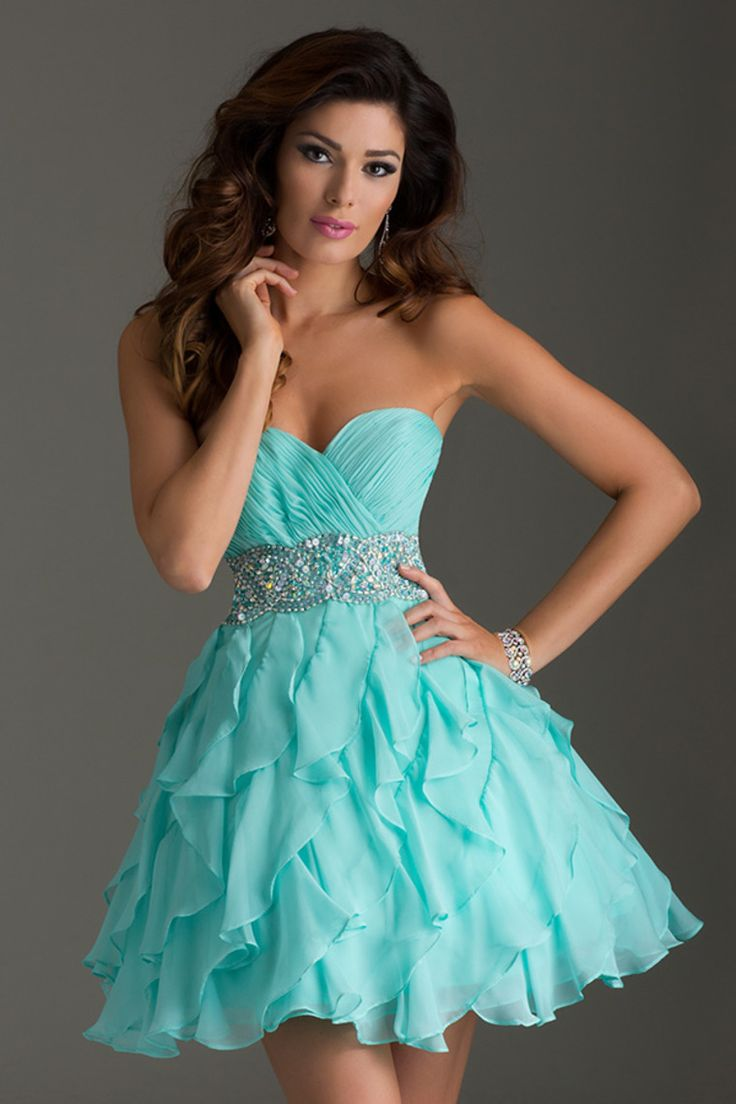 2015 Homecoming Dress A Line Short/Mini With Tiered Chiffon Skirt Beaded