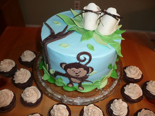 748 best images about cake ideas on pinterest thomas the train beach cupcakes and princess - Monkey baby shower cakes for boys ...