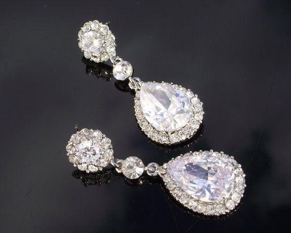 Crystal & Silver Teardrop Earrings MAISY by JulesJewellery on Etsy, $74.00