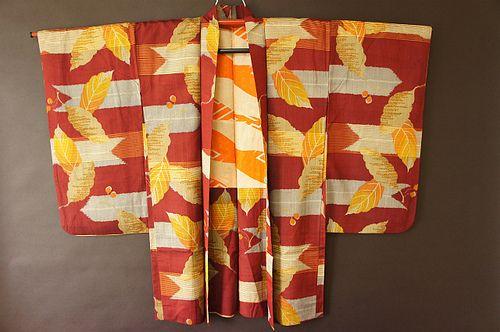 Meisen haori with horizontally woven yabane and nandina leaves.