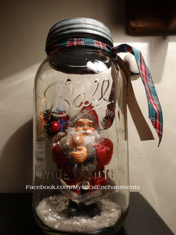 Santa Snowglobe Primitive Mason Jar Snow by MYSTICALLYENCHANTING