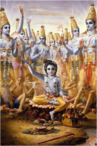 Krishna Bewilders Brahma. In order to convince Brahma that all those calves and boys were not the original ones, the calves and boys who were playing with Krishna transformed into Vishnu forms. Actually, the original ones were sleeping under the spell of Brahma's mystic power, but the present ones, seen by Brahma, were all immediate expansions of Krishna, or Vishnu. Krsna Book, Chapter 13.