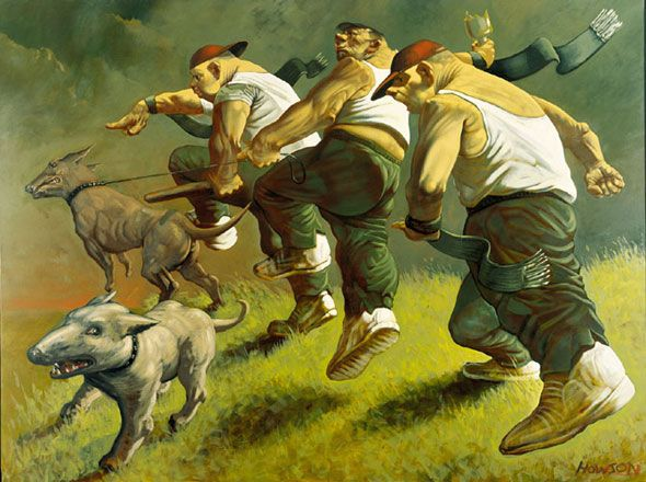 "Peter Howson's ""Patriots"" (1991): have seen this piece hanging in Glasgow's Gallery of Modern Art and can only really be appreciated when you see its size and its sumptuous glazes."