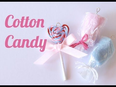 She tears off pieces of colored felt to make the cotton candy - so cute and could definitely be done in 1:12 scale :) Cotton Candy Charms - Polymer Clay Jewelry (Jewellery) Tutorial - YouTube