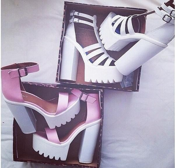 Chunky cleated sole platform heels (white & pink) | My style ...