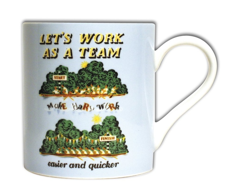 "£9.99 | Encourage a healthy team spirit in your home or your office with this fabulous mug featuring a 1952 internal GPO poster advocating team work to ""Make hard work easier and quicker"". Made from bone china. Dishwasher and microwave safe."