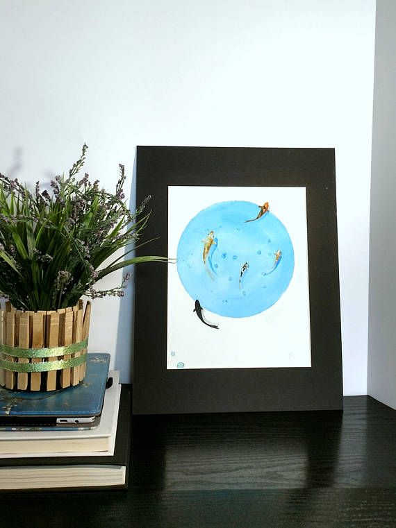 Check out this item in my Etsy shop https://www.etsy.com/listing/545045735/original-art-koi-pond-blue-bubble-orange