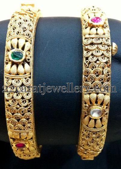 Jewellery Designs: Antique Fancy Bangles