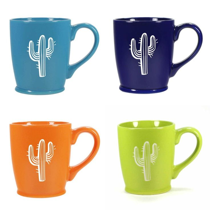 CACTUS Mugs - Set of 4 Colors - 16oz Dishwasher-Safe Sandblasted Ceramic. Saguaro cactus lovers can spice up their southwestern kitchen with these stoic succulent mugs! Microwave-safe and dishwasher-safe. We carved all the way through the bright, colorful glazes of these extra large CACTUS mugs so that the bold natural stoneware ceramic can be seen. You'll get one each of the 4 colors shown (sky blue, navy blue, tangerine orange, chartreuse green). Engraving will never wear or stain....