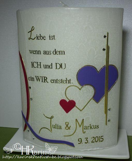 "Karins Kreativstube: Partnerkerze ""Julia & Markus"" pink / violett"