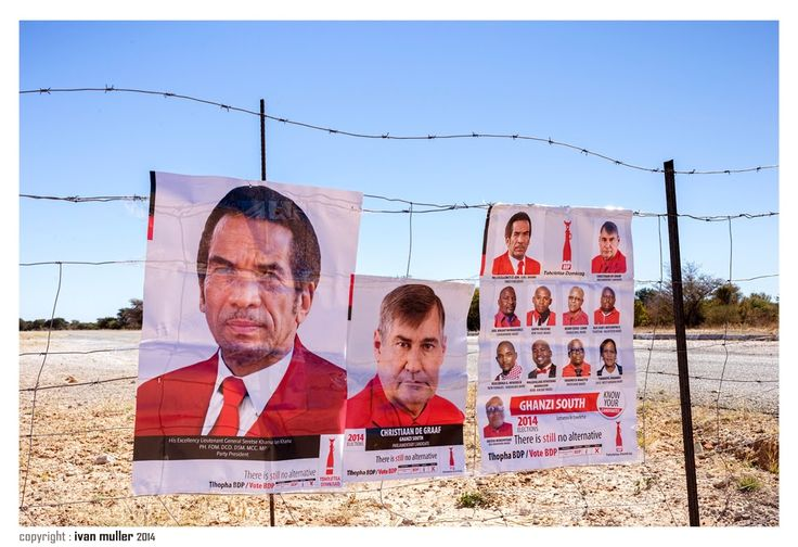 Road to Namibia - Election time in Botswana. His Excellency Lieutenant General Serese Khama Ian Khama, PH.FOM  DCO. DSM. MCC. MP, Party President Christiaan de Graag - Ivan Muller, the lazy travel photographer