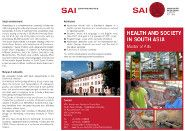 M.A. Health and Society in South Asia - University of Heidelberg