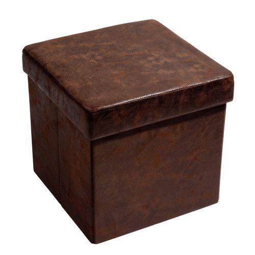 Pouf coffre pliable imitation cuir marron VINTAGE